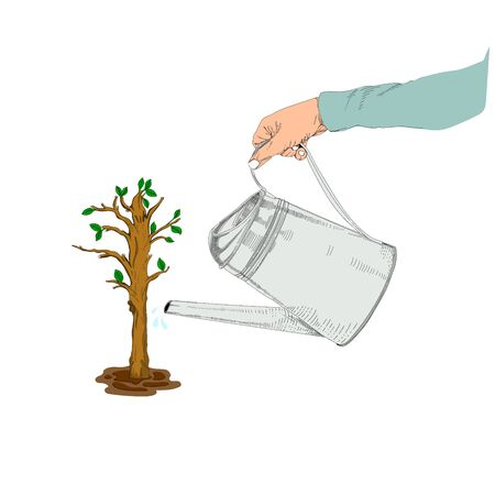 Vector illustration of watering trees Ilustracja