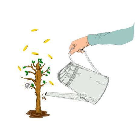 Vector illustration of watering trees,Money Tree Ilustracja
