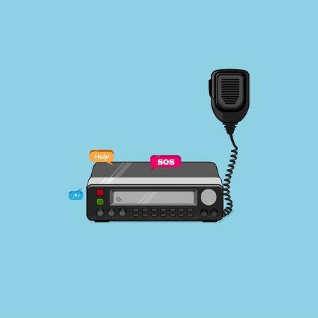 Transceptor de radio de coche, ilustración vectorial de Walkie Talkie, estación de transceptor de radio y altavoz que se sostiene en el aire, se usa para conexión de radioaficionado y tema de equipo de radioaficionado