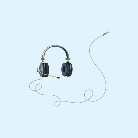 Line art, illustration of headphones.