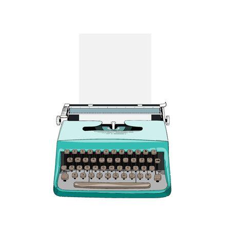 Line art, Vector illustration of vintage typewriter.
