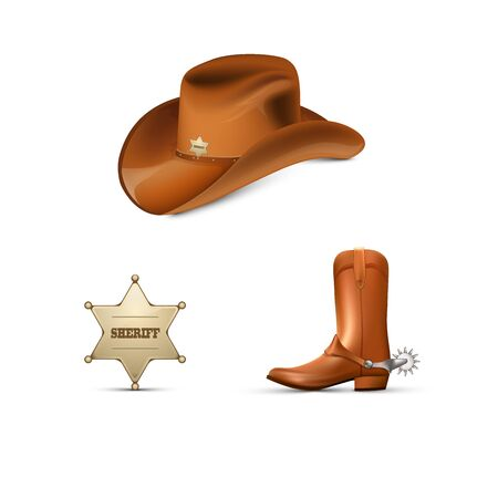 Cowboys leather hat and boots with spurs ,Sheriffs metallic badge Illustration