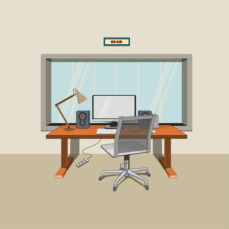 Flat vector workplace illustration with monitor, lamp and computer chair Ilustracja