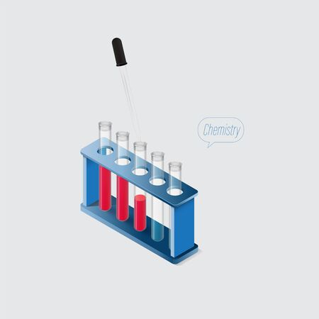 Isometric chemical laboratory equipments,Dropper and some transparent testtubes