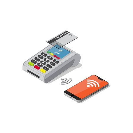 Isometric Illustration of Contactless payment.Mobile phone payment  or smartphone air pay,Credit card payment