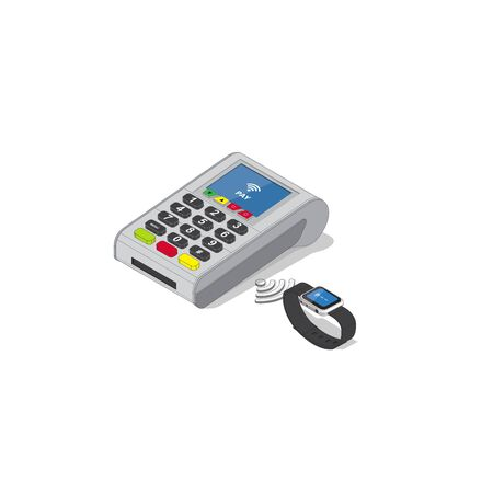 Isometric Illustration of Contactless payment.Credit card reader and smart watch isolated on white background Ilustracja