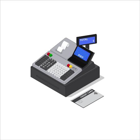 Isometric Illustration of Contactless payment.Vector cash register on white background.Credit card payment