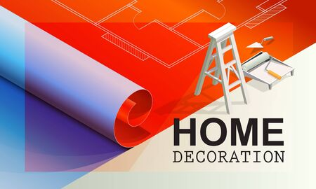 Vector illustration of home decoration,Interior decoration tools on the construction drawings.