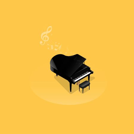 Realistic isometric illustration of black grand piano .