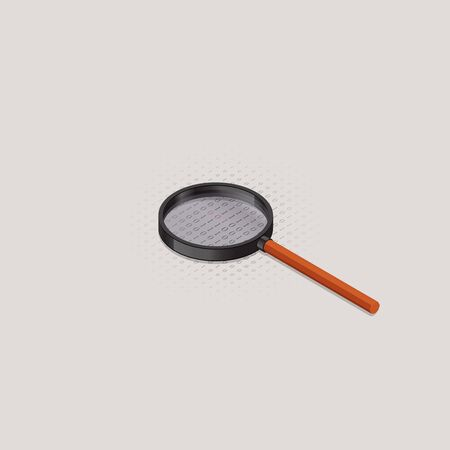 Isometric vector illustration of magnifying glass to catch errors in program code. Ilustracja