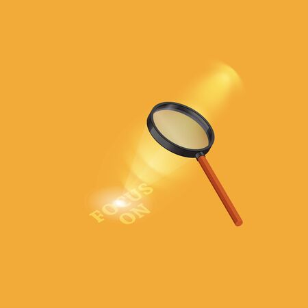 Vector  illustration of magnifying glass,Magnifying glass focusing light.