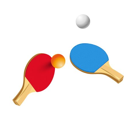Red and Blue table tennis rackets and ball isolated on white background.