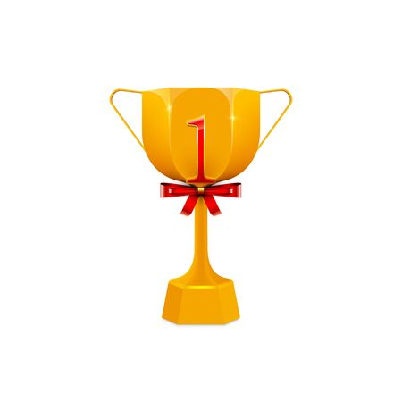 Golden trophy cup with number 1 isolated on whhite background,Vector illustration