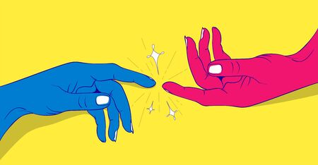 Vector illustration of hands touching,Forefingers touch each other