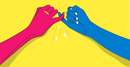 Vector illustration of Pinky Promise. Hand in hand with love Ilustracja