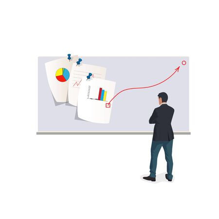 Vector Illustration of business.Various charts are being analyzed to determine the direction of the market, Ilustracja
