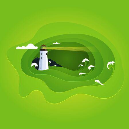Illustration of sea waves and lighthouse. Paper effect landscape.