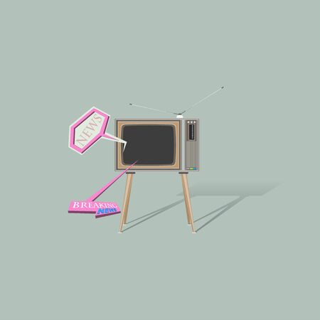 Paper effect illustration,Vintage television and Breaking news pops up on the TV.