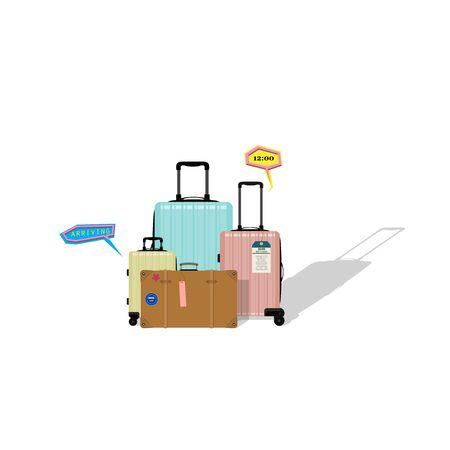 Paper effect vintage suitcase and colorful modern luggages.Traveling background.