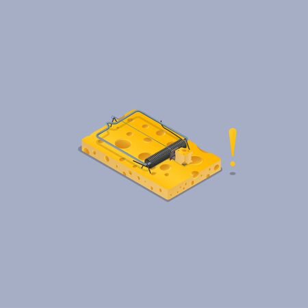 High detailed vector mousetrap, Isometric view and made of cheeses.