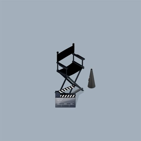 Director chair and  clapboard. Isometric View. Ilustracja