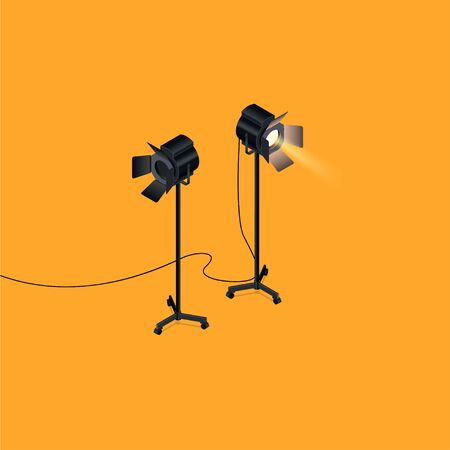 Isometric view of photography studio lights.