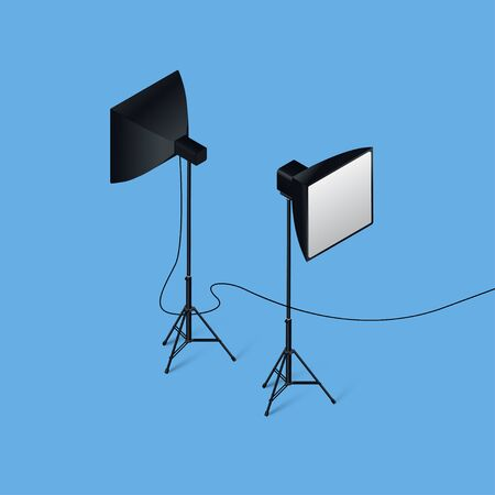 Isometric vector of high detailed photo studio light.