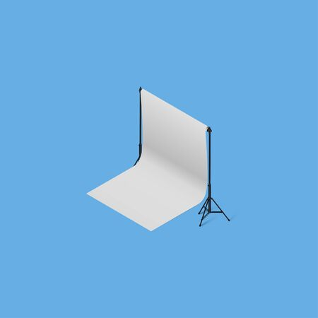 High Detailed and realistic 3d model of Photography Backdrop Support.Isometric View Vectores