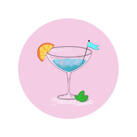 Vector illustration of a cocktail drink. Party element. Ilustracja