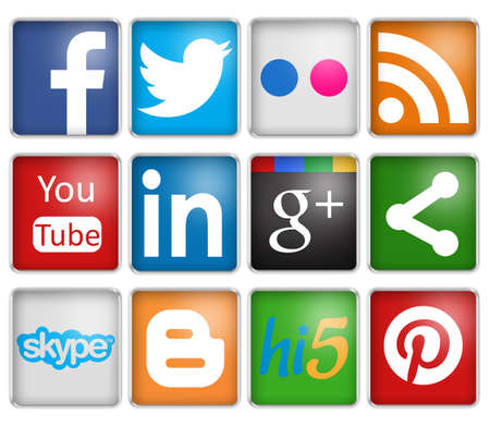 button icons: social networks signs Editorial
