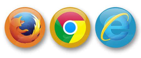 navegadores web Firefox, Chrome e Internet Explorer Editorial