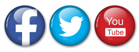medias: facebook, twitter and you tube Editorial