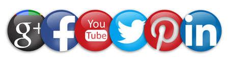 google plus: signos red social Google Plus facebook youtube twitter pinterest y linkedin Editorial