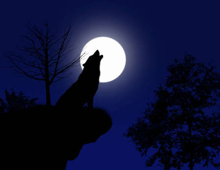 animal silhouette: howling wolf