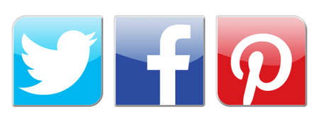 flickr: social network signs, twitter,facebook and pinterest Editorial