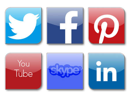pinterest: social network signs, twitter, facebook, pinterest, you tube, skype and linkedin Editorial