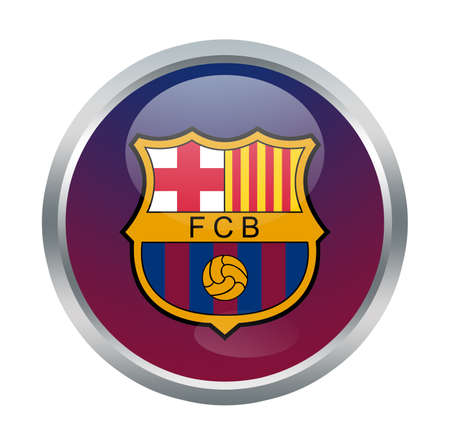 Barcelona fc sign on white Editorial