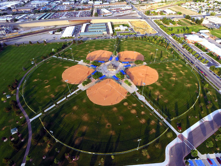 Aerial view of baseball fields
