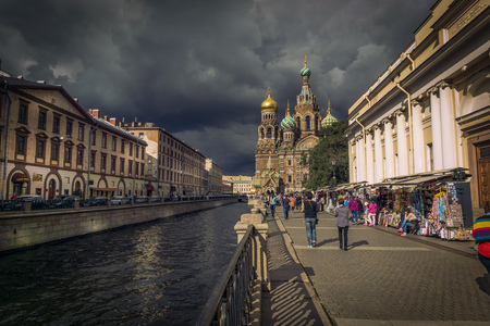 Church on Spilt Blood and Griboyedov Canal in St. Petersburg, Russia. This Church was built on the site where Tsar Alexander II was assassinated and was dedicated in his memory.