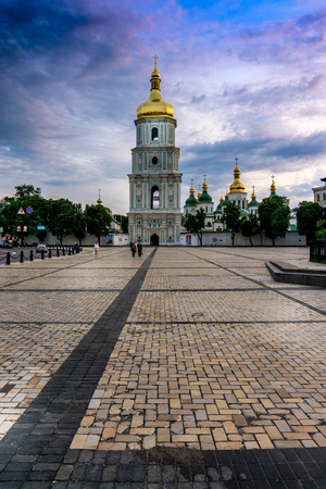 sobor: Saint Sophia National Sanctuary, Cathedral and belltower, on St. Sophia Square. View afar from near St.Michaels Monastery