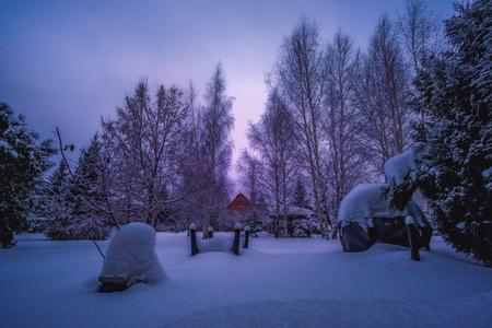 Deep snow in the backyard following a storm on a gloomy day in winter. Reklamní fotografie