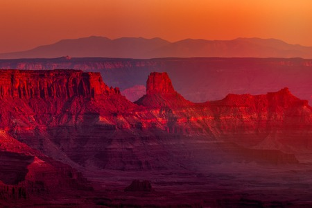 Landscape view of geological rock formations in southwest Utah from a high overlook at sunset Stock Photo