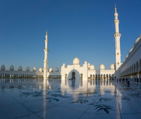 April 2017: sky and reflection of Sheikh Zayed Mosque in Abu Dhabi