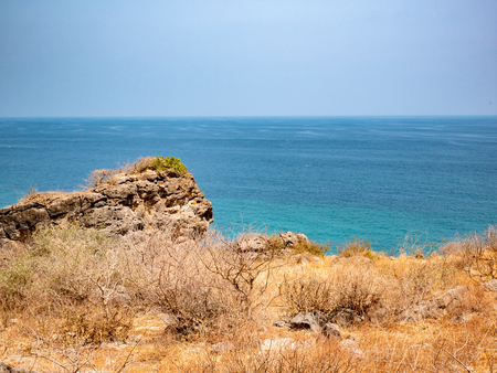 Empty, endless and lonely ocean view with clear skies near Salalah, Oman Stok Fotoğraf
