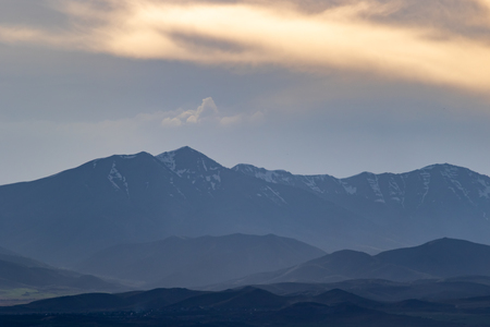 Hazy landscape of the Rocky Moiuntains and foothills