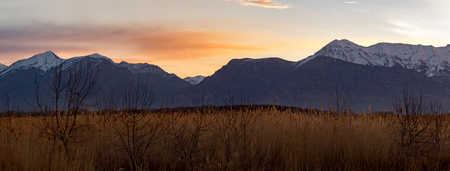 Stunning panorama of grass in the foreground and the Rocky Mountains in the background at sunset