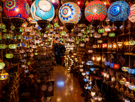 Colorful lamps light up a shop in Manama, Bahrain