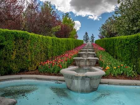 Low-angle view of water flowing through fountains in a park or garden with colorful flowers growing oin the landscape