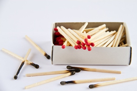 Box of matches and burned matches over white. Stock Photo - 9315427