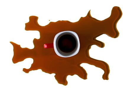 Coffee cup on spilled coffee on white background